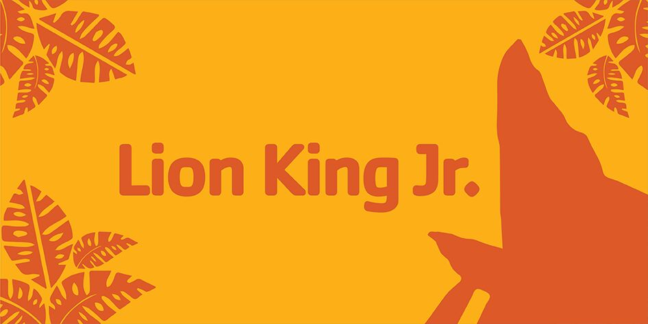 Lion King jr. illustration with leaves and pride rock